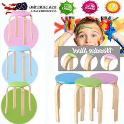 """18"""" Anti-Slip Stacking Stool Round Dining Chair Backless Woo"""