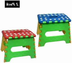 """2 Pack 7"""" Collapsible Folding Plastic Kitchen Stool w/ Handl"""
