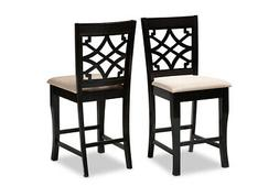 Baxton Studio 2-Pieces Upholstered Espresso Brown Finish Woo