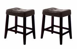 """24""""H Kent Wood Saddle Chair Faux Leather Backless Bar Stool"""