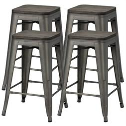 24 inches Metal Counter Stool Barstool with Wooden Seat Back