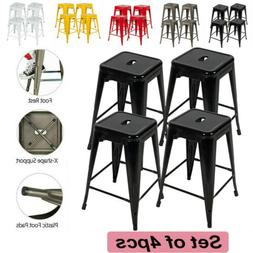 24'' Metal Bar stools Counter Height Backless Stackable Kitc