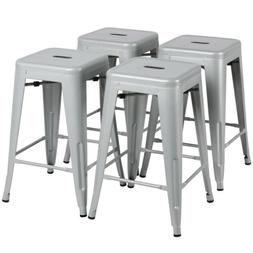 24'' Metal Bar stools Set of 4 Backless Stackable Counter He