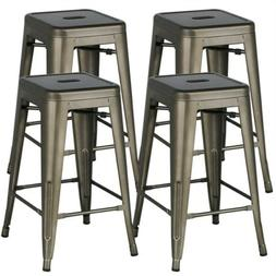 24'' Metal stools Counter Kitchen Stools Set of 4 Backless S