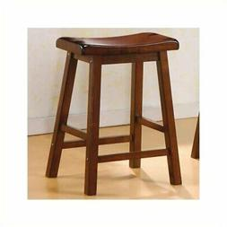 """Bowery Hill 24"""" Wooden Backless Counter Stool in Dark Walnut"""