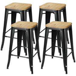"""26"""" Metal Industrial Counter Height Bar Stools Set of 4 Back"""