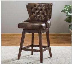 "26"" Tufted Counter Ht Bar Stool Vintage Brown Faux Leather B"
