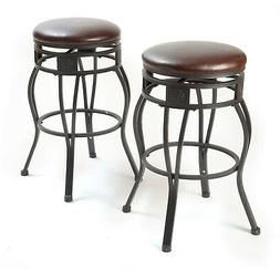 eHemco 29'' Swivel Metal Barstool with Faux Leather Seat in