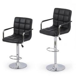 2pc Black PU Leather Adjustable Height Swivel Bar Stool with