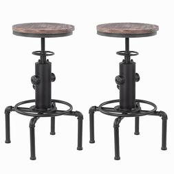 2pcs Bar Stool Industrial Metal Wood Top Adjustable Height S