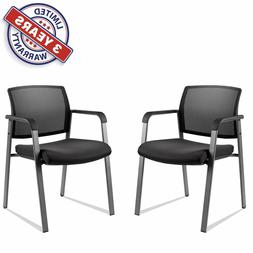2x Mesh Back Stack Chair Arm Chairs Upholstered For Office S