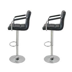 2pcs PU Leather Adjustable Height Swivel Bar Stool /Arms & C