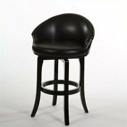 """Bowery Hill 30"""" Faux Leather Swivel Bar Stool in Dark Brown"""