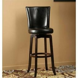 """Bowery Hill 30"""" Faux Leather Swivel Bar Stool in Black and E"""