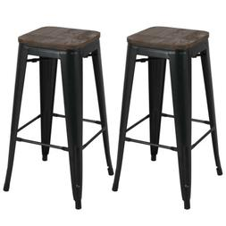 """30"""" Metal Barstools Bar Height Stools w/ Wooden Seat Set of"""