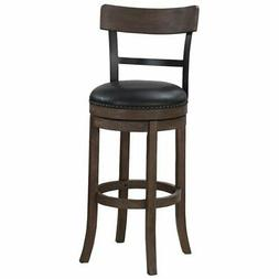"""Bowery Hill 34"""" Swivel Tall Bar Stool in Washed Brown and Bl"""