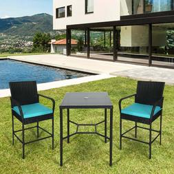 Set Of 2 Black Wicker Bar Stool Set W/ Square Height Table O