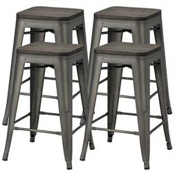 4-Piece 24-Inch Counter Bar Stool With Wooden Seat Indoor Ou