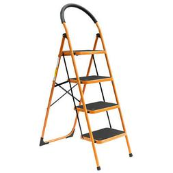 4 Step Ladder Folding Steel Step Stool Anti-slip 330Lbs Capa