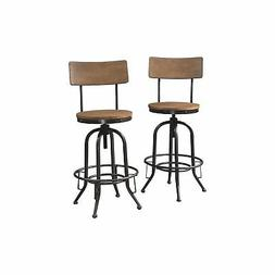 44 Inch Dual Tone Metal and Wood Swivel Barstool, Brown and