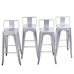 4pc Bar Stool Height Modern Chair Low-Back w/ Footrest Home