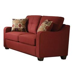 Acme Furniture 53561 Cleavon II Loveseat with 2 Pillows, Red