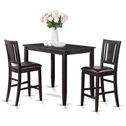 East West Furniture BUCK3-BLK-LC 3-Piece Counter Height Dini