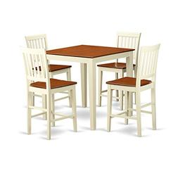 East West Furniture VERN5-WHI-W 5-Piece Counter Height Table