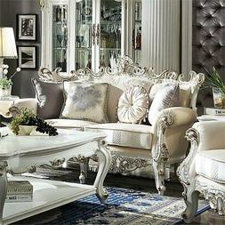 ACME Picardy II Loveseat with 4 Pillows in Fabric and Antiqu