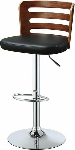 Adjustable Camelia Black Faux Leather Stool Height and Swive