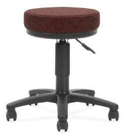 Height Adjustable Drafting Stool with Casters, Burgundy Fabr