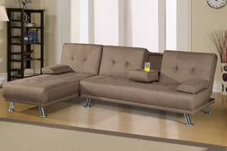 Poundex Adjustable Light Coffee Faux Leather Sofa and Chaise