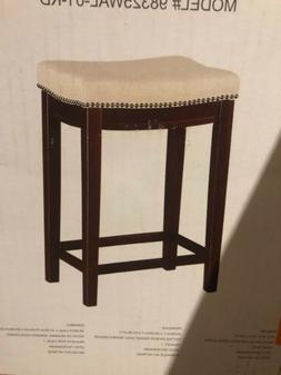 Linon Allure Fabric Upholstered Top 24 Height Stool Dark Wal