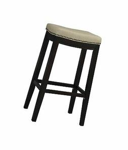 Linon Allure Fabric Upholstered Top 30 Height Stool Dark Wal