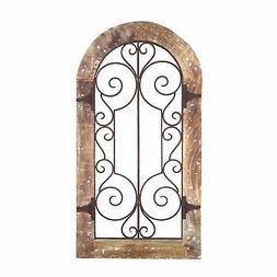 Benjara Arched Wooden Frame Wall Panel with Scrolled Metal A