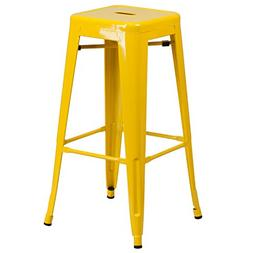 "Flash Furniture 30"" High Backless Yellow Metal Indoor-Outdoo"