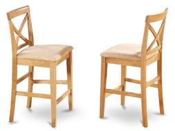 Set of 2 bar stools kitchen counter height chairs w/ padded