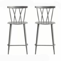 Becket Metal X Back Counter Stool in Grey Set of 2
