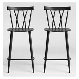 Becket Metal X Back Counter Stool in Black Set of 2