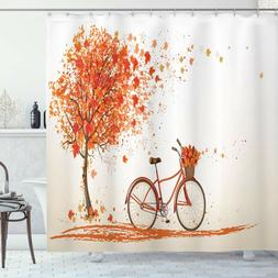 Ambesonne Bicycle Shower Curtain, Autumn Tree with Aged Old