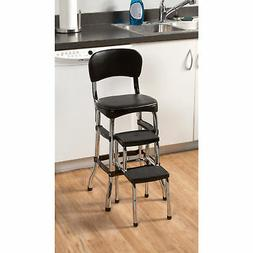 Black Retro Chrome Pull Out Step Stool w/ Chair Kitchen Bar