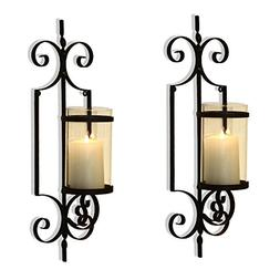 Adeco HD0018 Brown Iron Vertical Wall Hanging Accents Candle