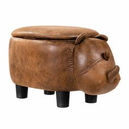 Brown Rhinocer Upholstered Ride-on Storage Ottoman Footrest
