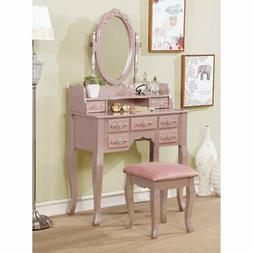 Furniture of America Cassidy Vanity Set with Stool