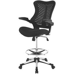 Modway Charge Drafting Chair in Black - Reception Desk Chair