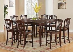 East West Furniture CHEL9-MAH-W 9-Piece Gathering Table Set