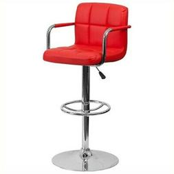 Contemporary Quilted Vinyl Adjustable Height Bar Stool with