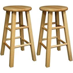 Counter Bar Stool Wooden 24 Inch Set 2 Natural Solid Wood Ac