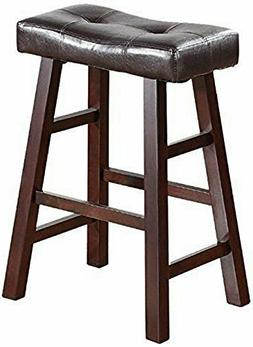"""Poundex Country Series Counter Stool - 24""""H - Faux Leather,"""