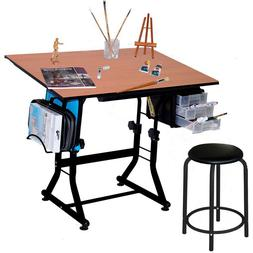 Drawing Table with Stool Chair Art Craft Hobby Draft Sewing